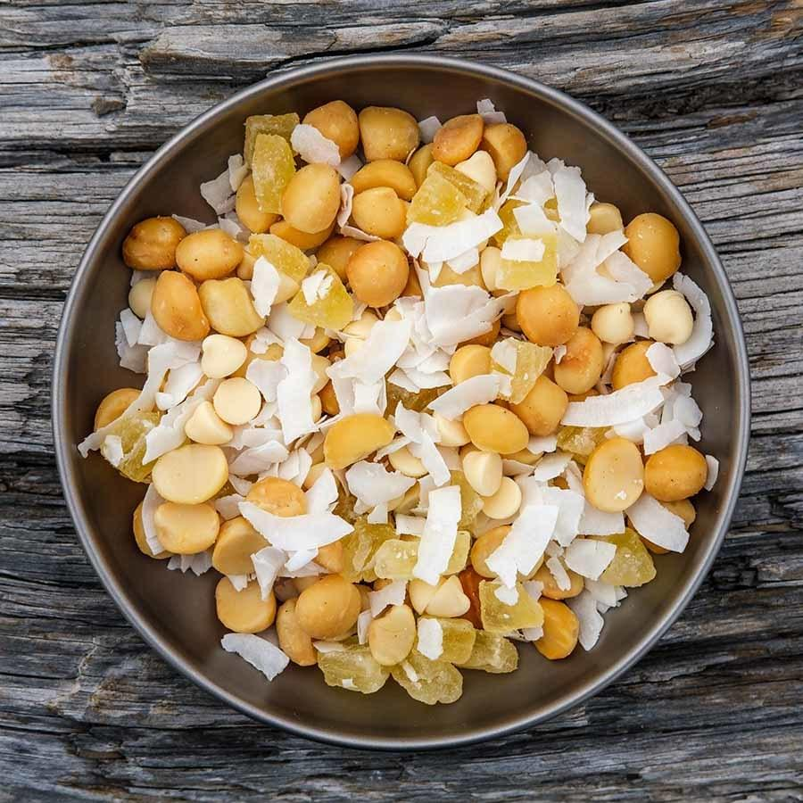 Aloha Trail Mix backpacking recipe ready to eat on trail.