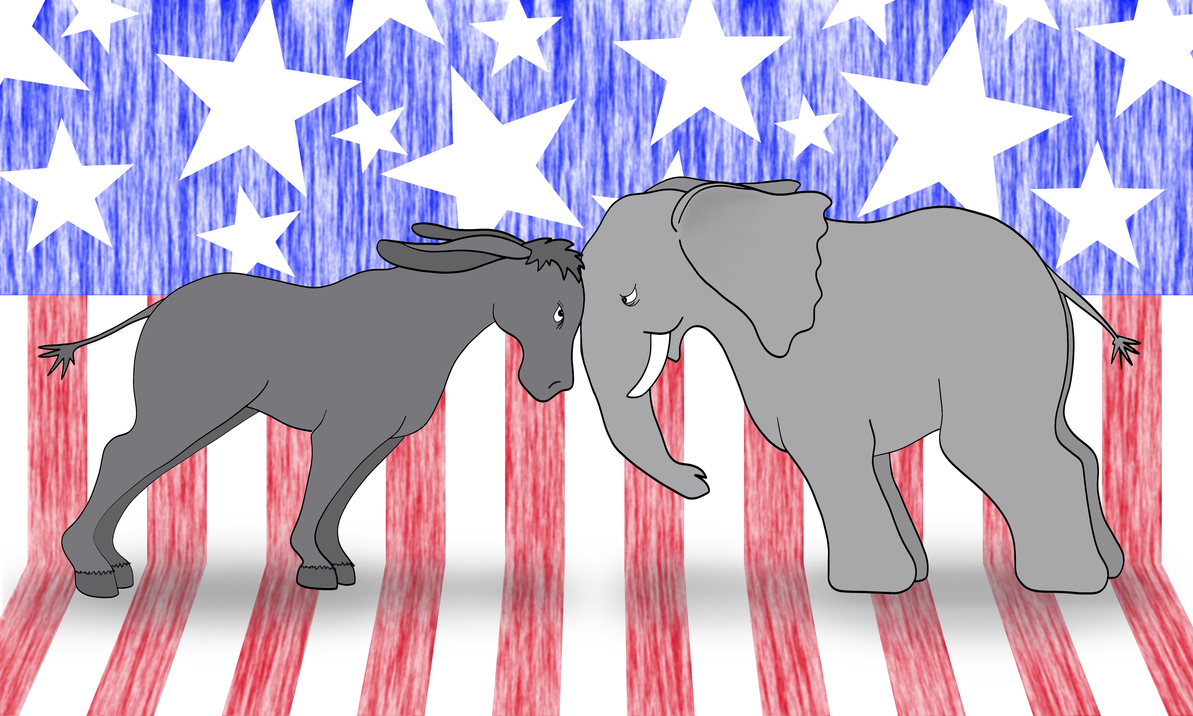 American flag with donkey and elephant representing political parties