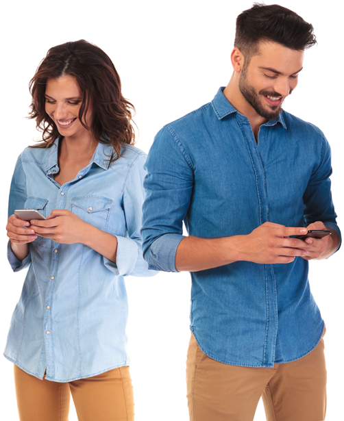 local reviews about us - Men & Women checking their phones