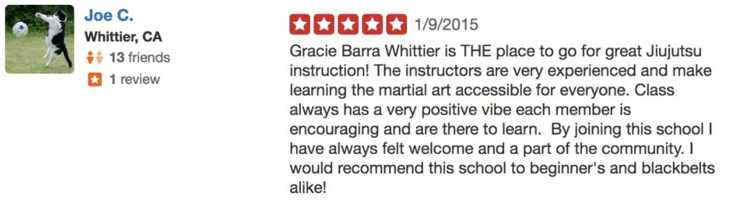 Yelp Review Gracie Barra Whittier