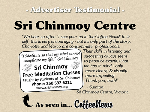 Sri Chinmoy Centre testimonial in Coffee News