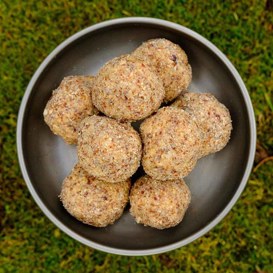 Cherry Macadamia Bites ultralight backpacking recipe. Delicious high energy trail snack.