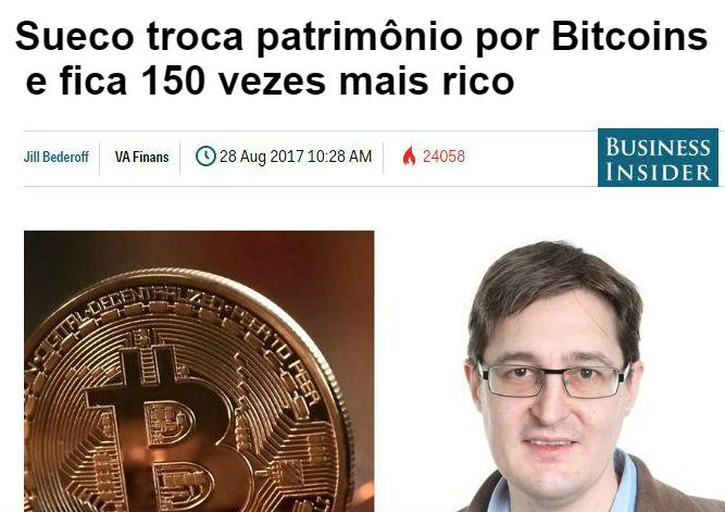 Sueco ficou 150 vezes mais rico com Bitcoin