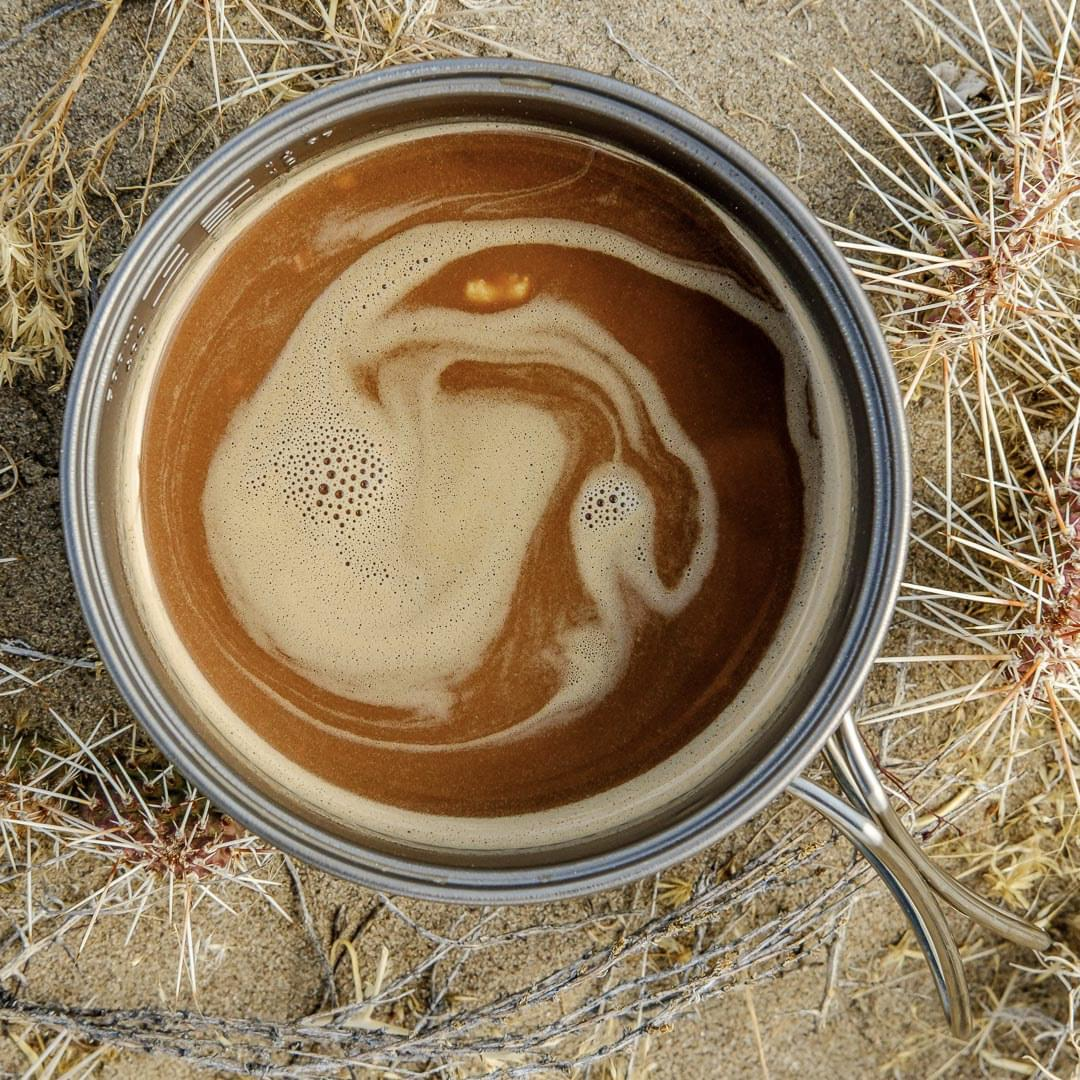 Coconut Chai Latte ultralight backpacking recipe. Hot beverage for breakfast in camp.